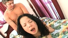 He fills her dirty whore mouth with spunk then kisses her deep