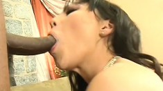 Little Asian girl gets two big black bones to contend with and struggles