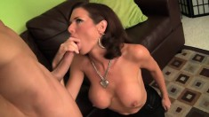 Sexy MILF in black stockings gets naughty and mounts a rigid wang