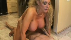 Huge, fake tit Milf puts on whip cream before he drills her twat