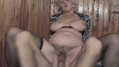 Old bat with a massive ass gets her mature cunt slammed deeply