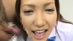 Asian cuties use their lips and hands to drive those cocks to orgasm