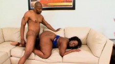 Marshae shows off her massive ebony booty and fucks a big black pole