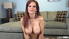 Moving from the couch to the floor, sexy Syren De Mer gets naked