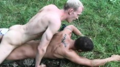 James Grant and Ben Taylor engage in hardcore anal sex in the woods