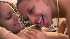 Three ebony cuties eat out each other's pussies and play with sex toys