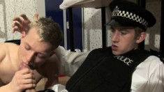 Cameron Wilson and Matt Hughes roleplay policeman getting his cock sucked