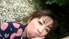 Lustful Japanese wife Mirai Hirooka puts her oral skills into action