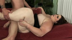 Chubby brunette Angie Luv is longing for a big rod and a deep fucking