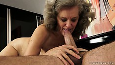 She rides his boner, gets spooned and then sucks him off for cum