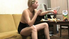 Lovely blonde enjoys a couple of drinks and gets rid of her clothes