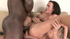 Slutty young babe engages in her first hardcore interracial threesome
