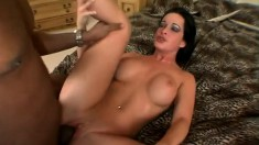 Buxom babe has a tight ass longing for a dark pole and a deep fucking