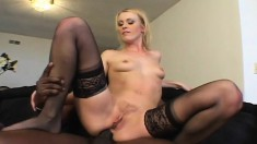 Slim blonde Sharon hangs on for a big black rod and hard anal banging