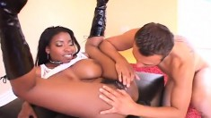 Ebony bombshell's tits bounce as she rides a rigid white cum gun