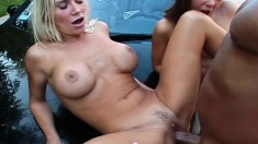 Two insatiable young girls fight over this hung stud's hard sausage