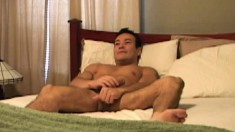 Wild office studs Thomas Bjorn and Mendoza having gay sex on the bed