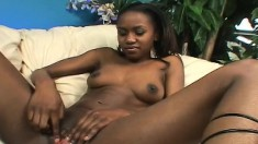Skinny ebony poses and eats his cock before sitting on it for some humping