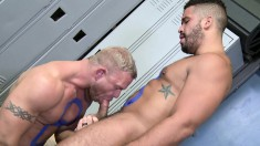 Muscled stallions engage in exciting anal fucking in the locker room