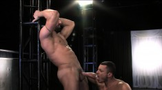Hot stud delivers a special blowjob before getting pounded in the ass