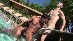 Three attractive gay studs fulfilling their anal desires by the pool
