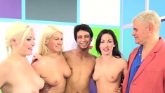 Three chicks take on two dudes one at a time and give great deep throat
