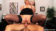 Two naughty girls stay late after lessons and fuck their favorite teacher