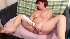 Mature and redheaded mom masturbate with sex toys