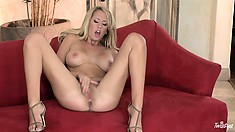 She can't finger fuck her tight, tasty pussy deep enough, so she opens up wider