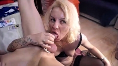 Blowjob Stunning blonde amateur takes big cock