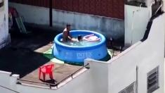 Girls watching couple fuck at pool CFNM