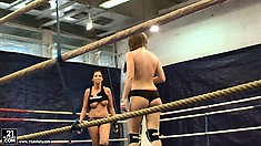 Two bitches wrestle each other while you enjoy the backstage view