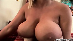Chintia Flower has a huge pair of tits, after she gets slammed he gets her boobs jizzed