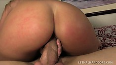 Hot blonde Brianna gags while sucking on lucky Billy's meat stick
