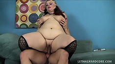 Fat blonde bitch in stockings gets her chubby cunt slammed hard