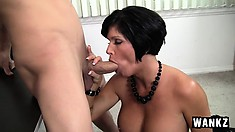 Stacked brunette cougar gets fucked hard and deep by a young stud all over her desk