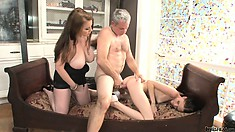 The hot babes have him pounding their snatches all over the sofa and love it
