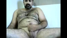 Hairy bearded daddy playing on cam