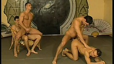 Lusty gay amateurs go to martial arts class and end up in a hot foursome