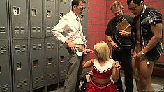 Cheerleader humiliates a jock by cuckolding him with some nerds