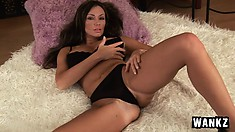 Striking brunette cougar with big boobs and sexy long legs loves to masturbate