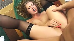 Stacked blonde in hot black lingerie welcomes a stiff cock deep in her butt hole