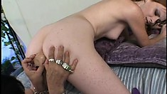 Mature woman with saggy tits teaches a young cutie how to pleasure herself
