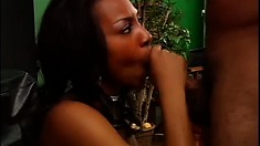 Lovely ebony stripper gets bent over and fucked on the pool table