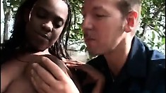 Big booty black ho gets a trashing from a white cock outdoors