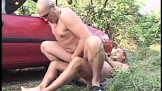 Young stud has an older guy sucking his dick and taking it up his ass