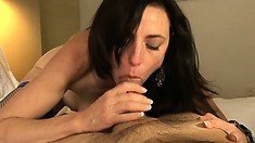 Lusty brunette MILF is eager to swallow this hunky guy's rigid wang