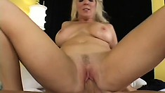Buxom Kara Nox has a young guy eating out and pounding her needy peach
