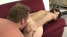 College brunette screams as her shaven snatch gets crammed with cock