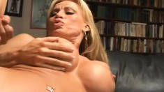 Blonde milf pornstar with amazing big tits gets fucked by a young stud